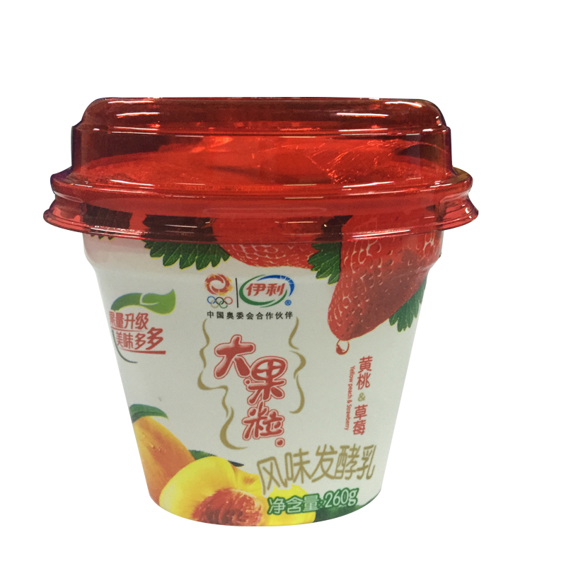伊利 大果粒酸牛奶 黄桃 草莓 260g 杯图片