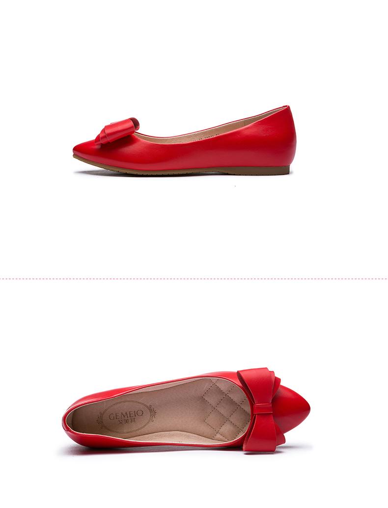 戈美其 2016春季新款单鞋休闲甜美蝴蝶结浅口尖头低跟